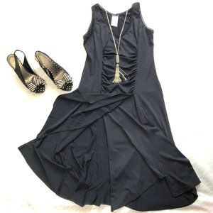 Powerline sleeveless ruched front dress
